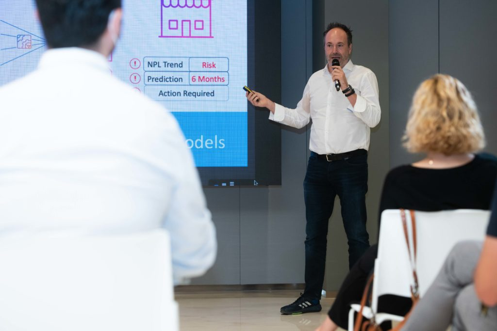 Carlos Albo, CEO at Wenalyze, gives a pitch during the Capital4Startups event